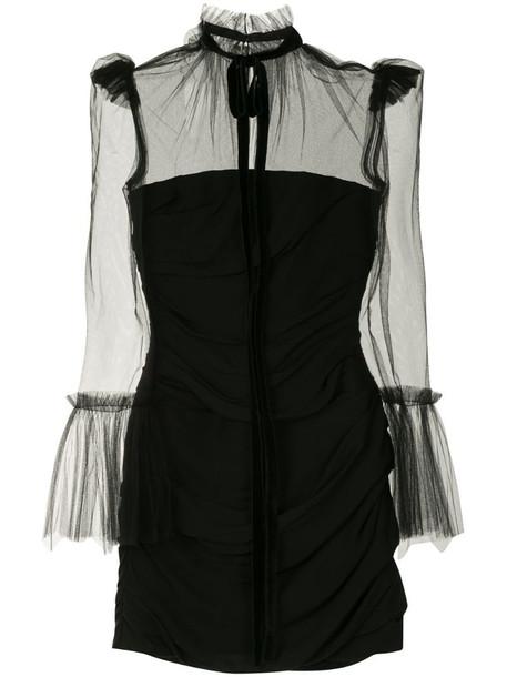 Khaite sheer panel mini dress in black
