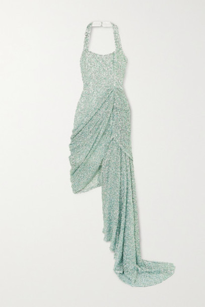 Halpern - Asymmetric Draped Sequined Lace Dress - Green