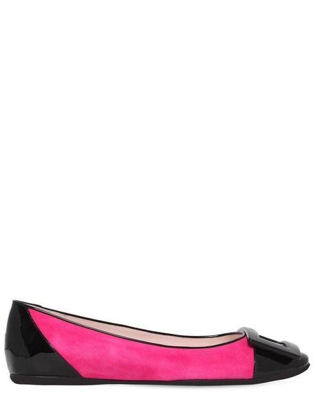 ROGER VIVIER 10mm Gommette Patent & Suede Flats in black / fuchsia