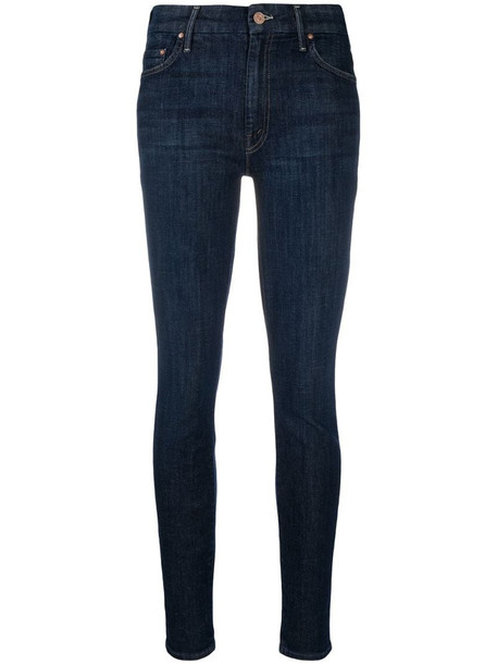 Mother High-waisted Looker skinny jeans in blue