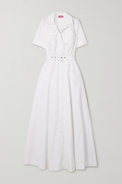 STAUD - Millie Belted Linen-blend Maxi Shirt Dress - White