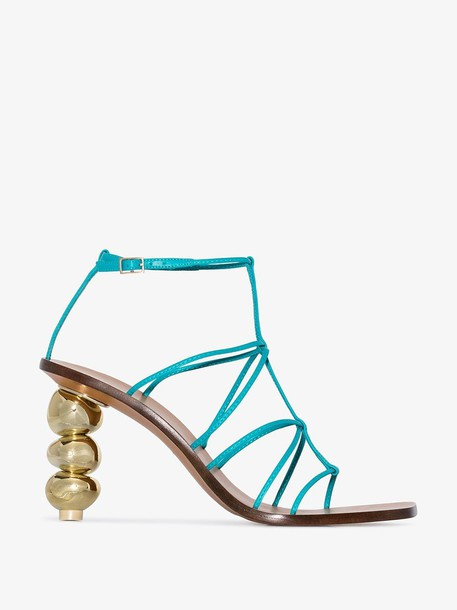 Cult Gaia Aqua blue Pietra 90 strappy leather sandals