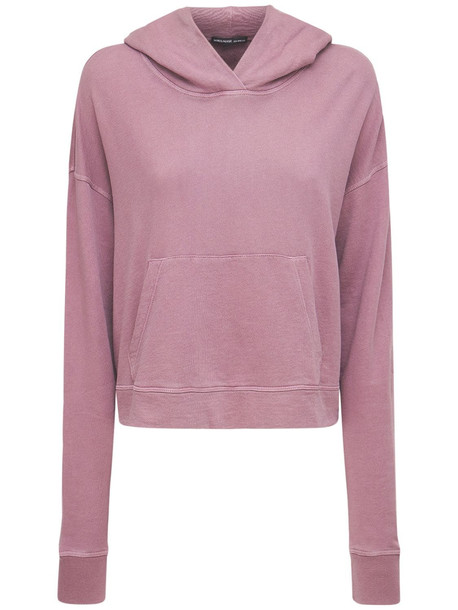JAMES PERSE Relaxed Cotton Cropped Hoodie in purple