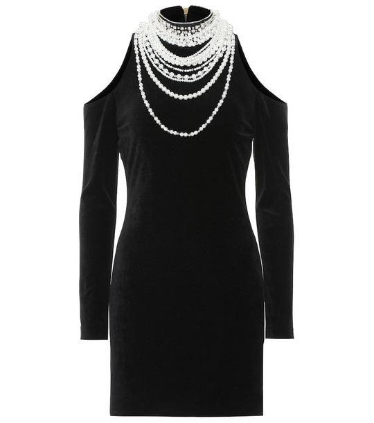 Balmain Embellished cotton-blend dress in black