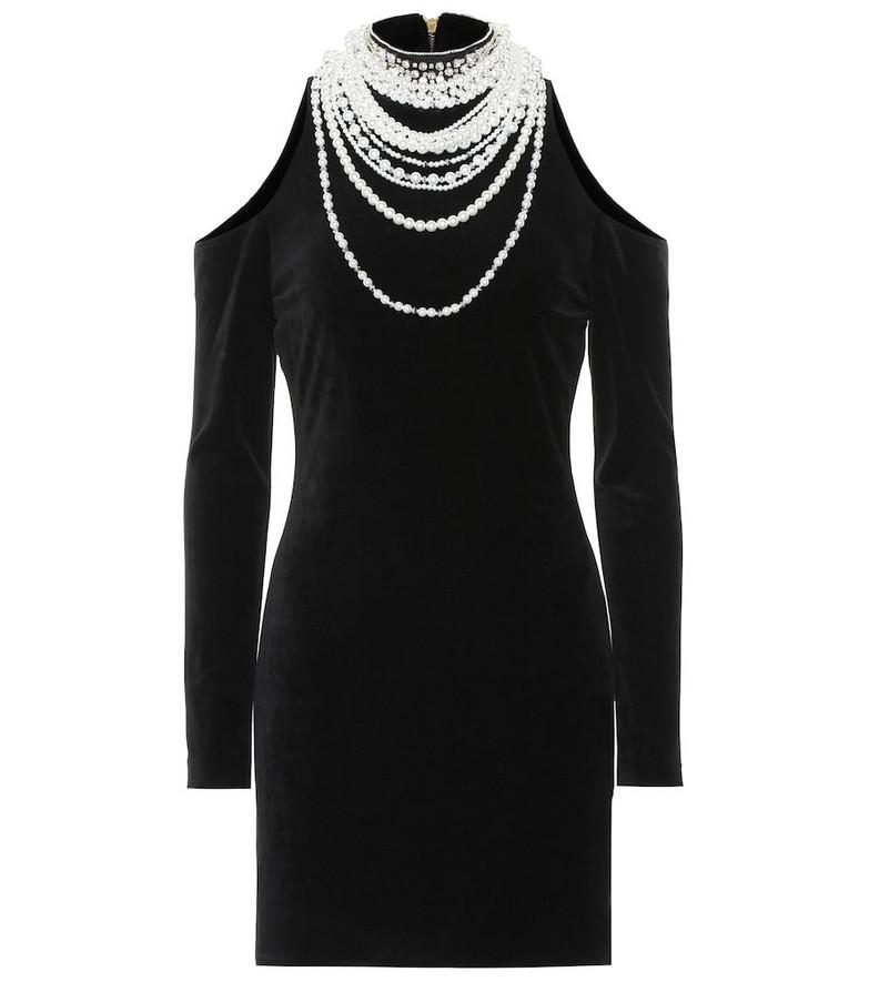 Balmain Embellished cotton-blend dress in black