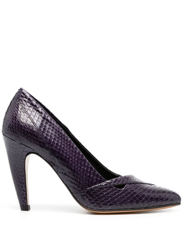 Tila March Shoreditch snakeskin effect pumps in purple