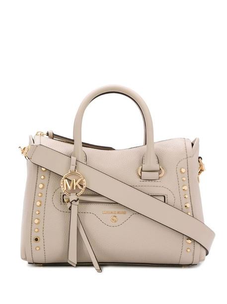 Michael Michael Kors Carine Small Studded satchel bag in neutrals