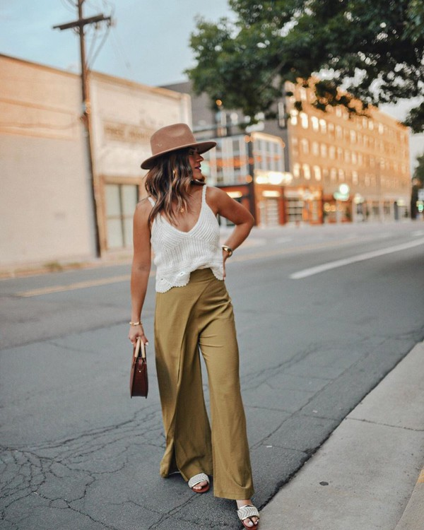 pants wide-leg pants sandals white top tank top hat handbag