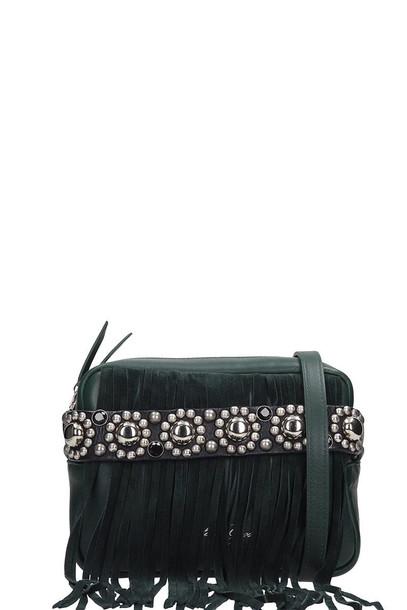 Golden Goose Camera Bag Shoulder Bag In Green Leather
