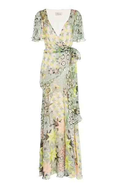 Temperley London Claudette Ruffled Printed Silk-Blend Chiffon Maxi Wrap Dress in green