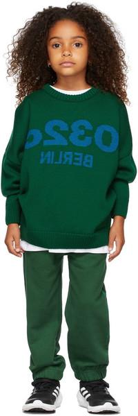 032c Kids Merino Wool Selfie Sweater in green