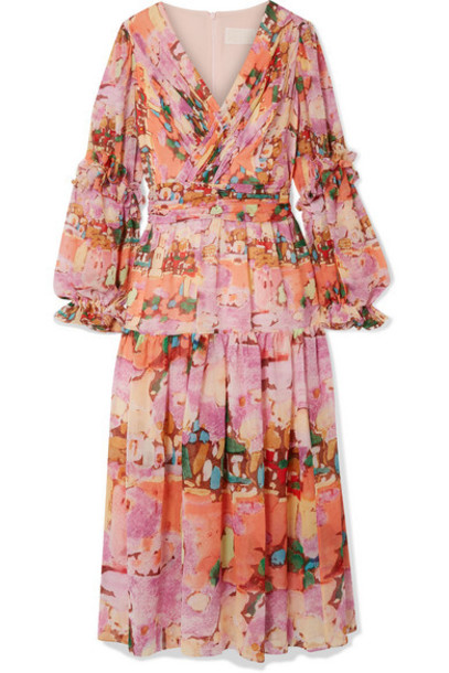 Peter Pilotto - Wrap-effect Ruffle-trimmed Printed Silk-georgette Midi Dress - Pink