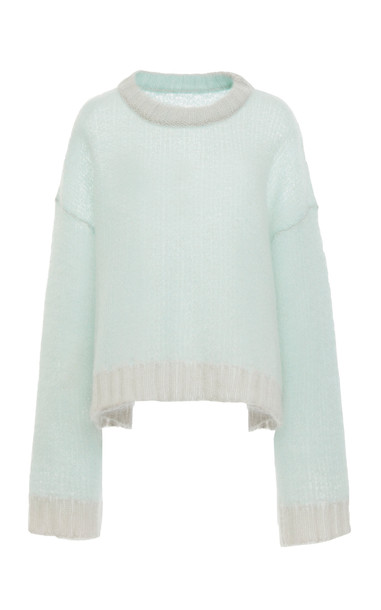 Maison Margiela Two-Tone Mohair-Blend Sweater in green