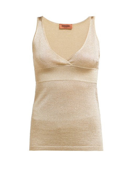 Missoni - V Neck Panelled Tank Top - Womens - Gold