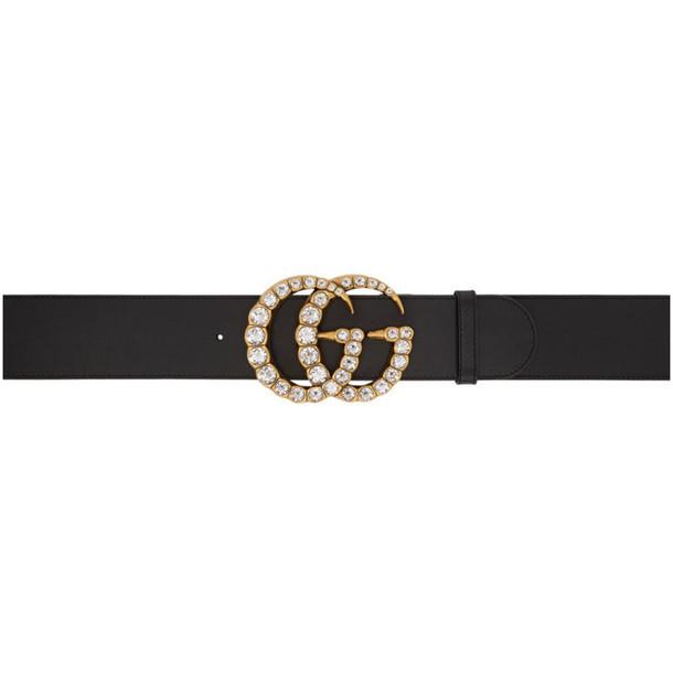 Gucci Black Wide Leather GG Crystal Belt