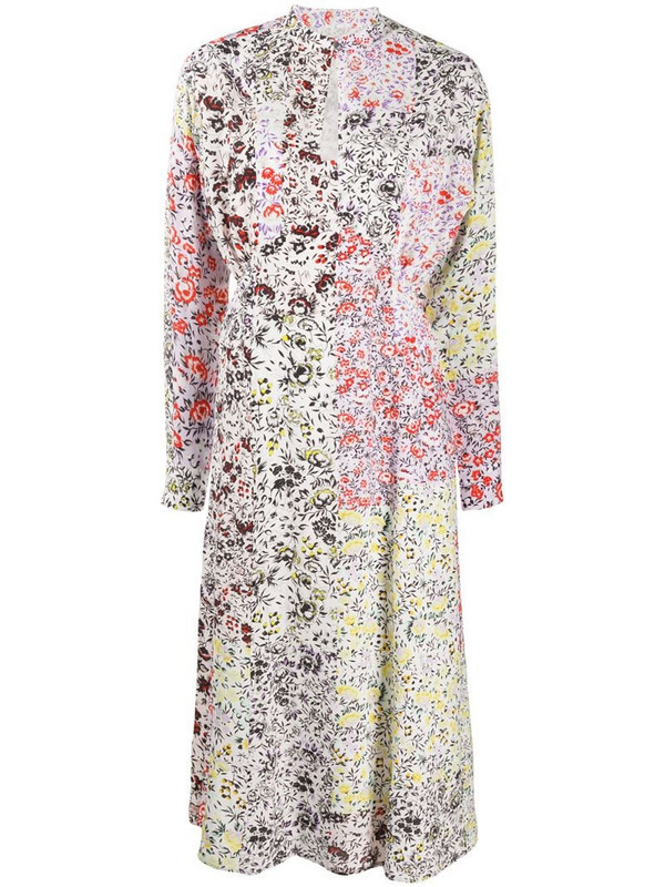 Lala Berlin patchwork floral-print dress in white