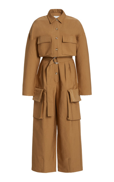 The Frankie Shop Linda Cotton-Blend Cargo Jumpsuit in brown