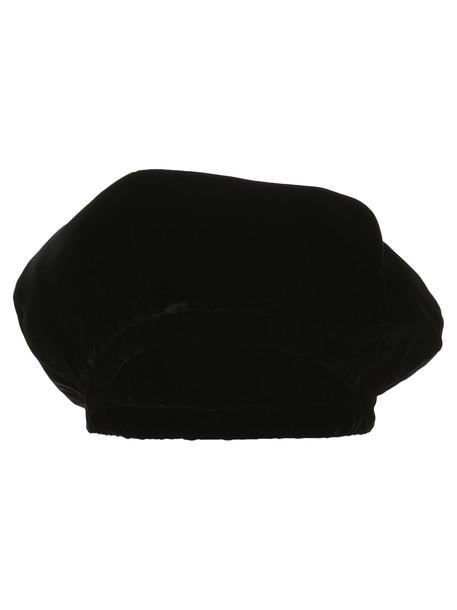 Saint Laurent Velvet Beret in black