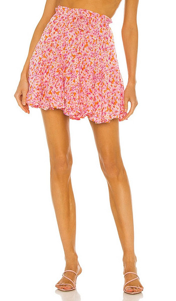 Sabina Musayev Merlot Skirt in Pink in orange / print