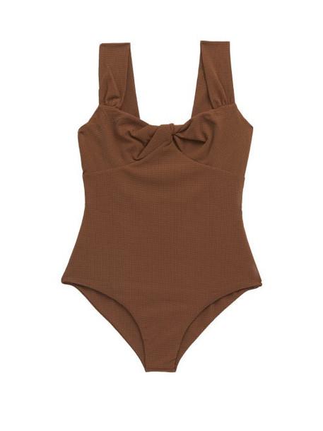 Marysia - Lehi Twist-front Basketweave Swimsuit - Womens - Dark Brown