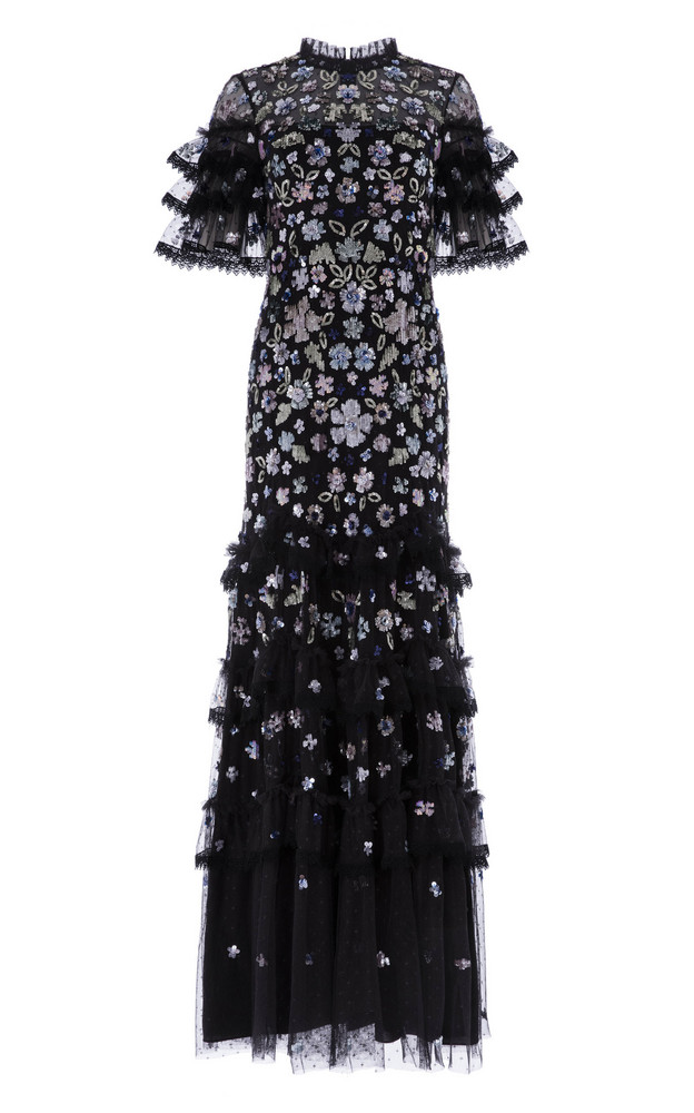 Needle & Thread Meadow Ruffled Sequin Gown in black