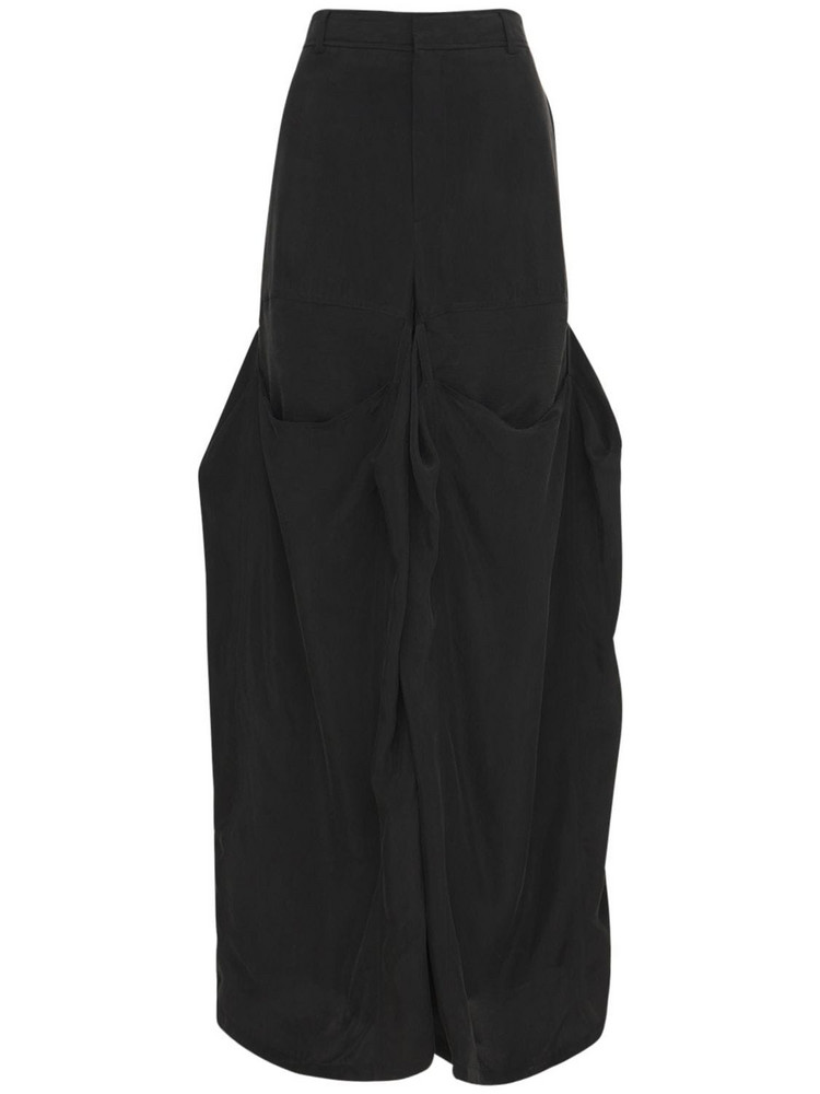 Y PROJECT Stretch Wide Leg High Waist Pants in black
