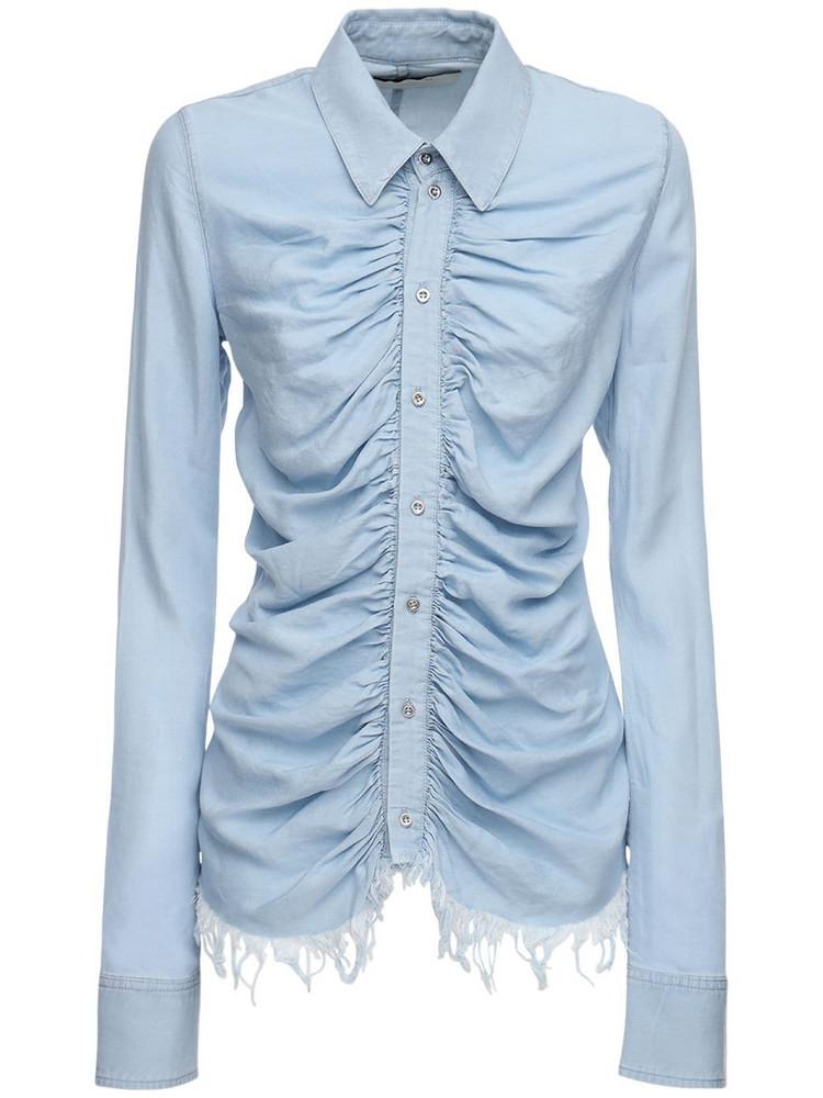 MARQUES'ALMEIDA Fitted Denim Shirt W/ Ruches in blue