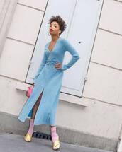 dress,midi dress,long sleeve dress,blue dress,slit dress,socks,sandals,pink bag,handbag