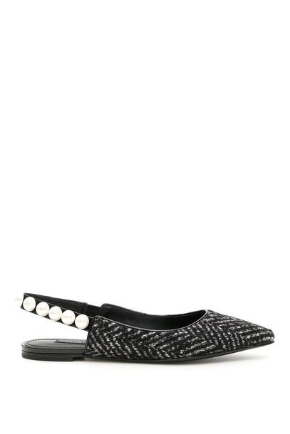 Dolce & Gabbana Bellucci Chevron Slingbacks With Pearls in nero / grey / bianco