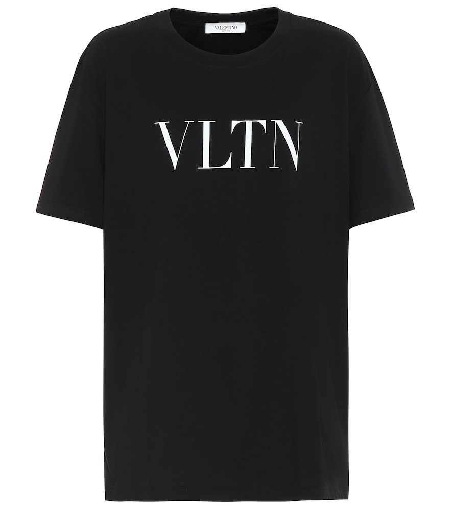 Valentino Logo cotton-jersey T-shirt in black