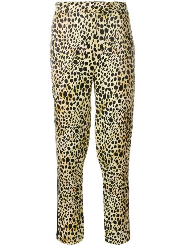 De La Vali leopard print cropped trousers in brown