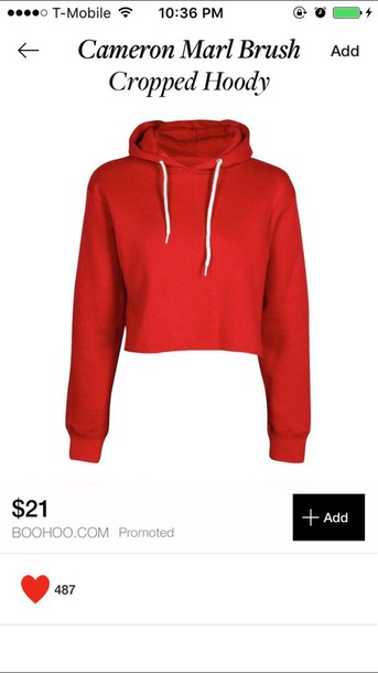 jacket cropped red hoody