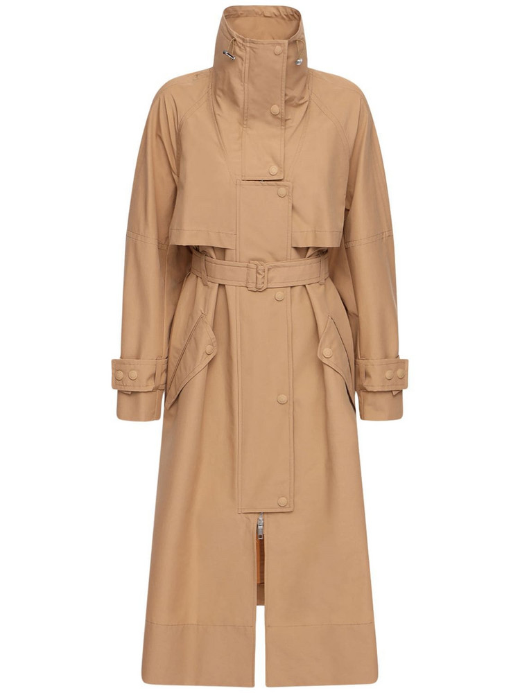 SPORTMAX Canvas Cotton Belted Trench Coat in sand