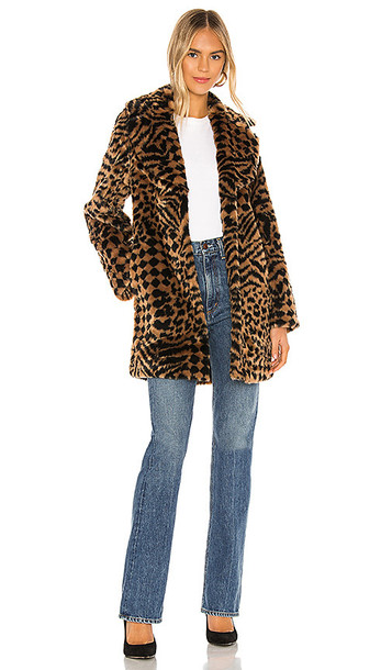 AMUSE SOCIETY Vera Faux Fur Coat in Brown