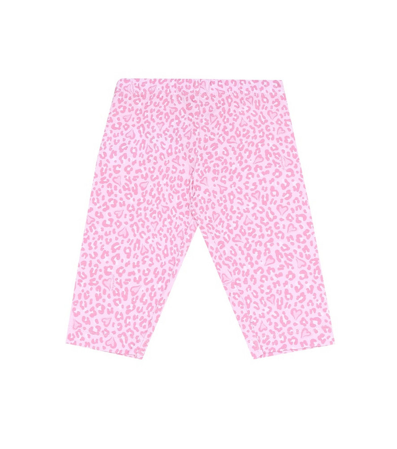 Monnalisa Leopard-print stretch-cotton leggings in pink