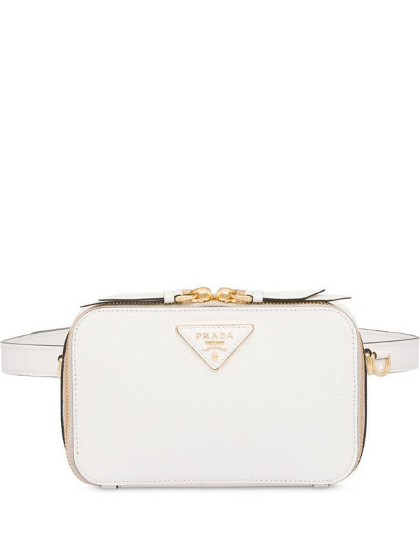Prada logo plaque belt bag in white