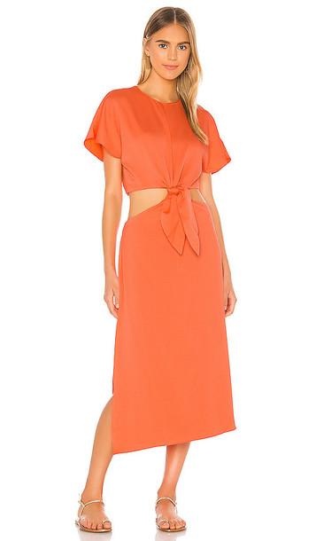 L'Academie The Mai Midi Dress in Coral