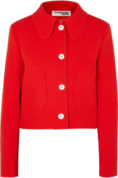 COURREGES - Cropped Wool-twill Jacket - Red