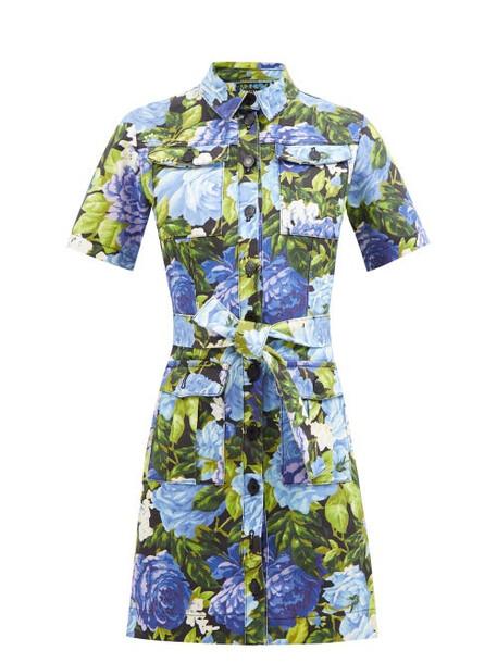 Richard Quinn - Roxy Floral-print Denim Dress - Womens - Blue Multi