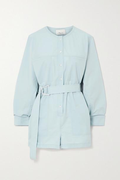 3.1 PHILLIP LIM - Belted Cotton-blend Poplin Playsuit - Blue