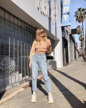 sweater,turtleneck sweater,cropped sweater,cropped turtleneck,high waisted jeans,straight jeans,white sneakers,platform sneakers,chanel bag,backpack,white bag,na-kd