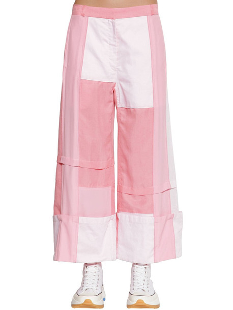 JW ANDERSON Silk & Cotton Wide Leg Patchwork Pants in pink