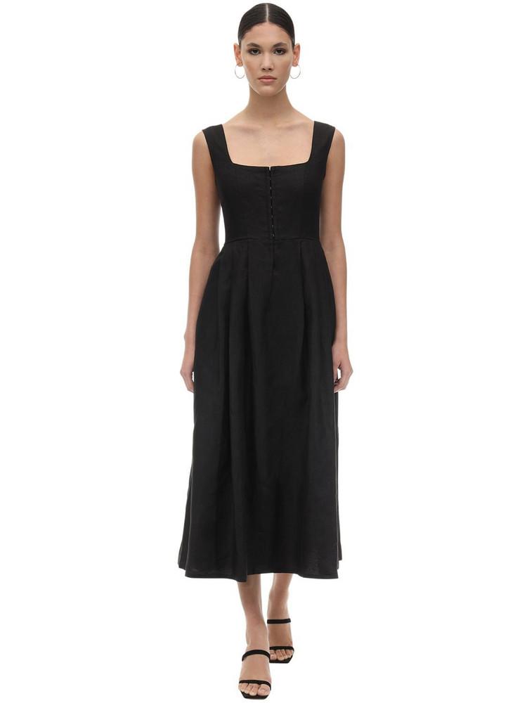 GIOIA BINI Chiara Linen Dirndl Dress in black