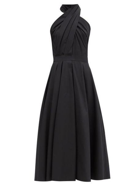 Alexander Mcqueen - Halterneck Pleated Cotton-poplin Midi Dress - Womens - Black
