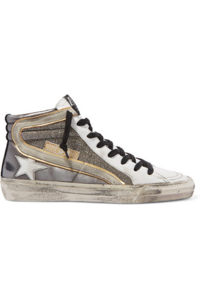 Golden Goose - Slide Distressed Suede-trimmed Leather And Lurex High-top Sneakers - Gunmetal