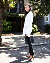 pants,black pants,skinny pants,pumps,white shirt,bag