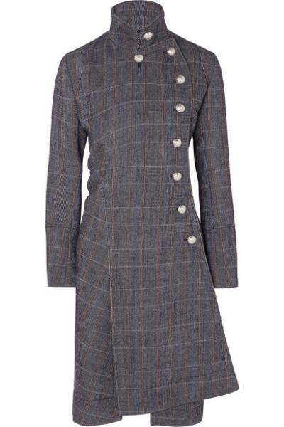 Chloé Chloé - Asymmetric Double-breasted Wool-blend Coat - Gray