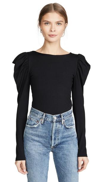 Susana Monaco Round Neck Gathered Sleeve Top in black