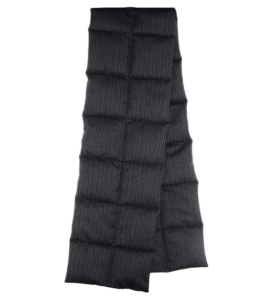 Dries Van Noten Quilted pinstriped wool scarf in grey