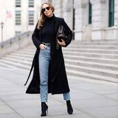 jeans,cropped jeans,black boots,high waisted jeans,black coat,long coat,black belt,black turtleneck top